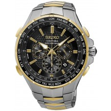 Seiko Mens Coutura Solar Radio Sync Two Tone Bracelet Watch SSG010P9