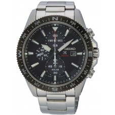 Seiko Mens Prospex Land Solar Chronograph Black Bracelet Watch SSC705P1