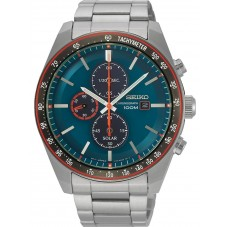 Seiko Mens Discover More Solar Chronograph Blue Bracelet Watch SSC717P1