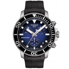 Tissot Mens T-Sport Seastar 1000 Chronograph Blue Dial Black Rubber Strap Watch T120.417.17.041.00