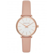 Michael Kors Ladies Pyper Rose Gold Plated White Dial Pink Leather Strap Watch MK2803