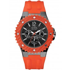 Guess Mens Orange Rubber Strap Watch W11619G4