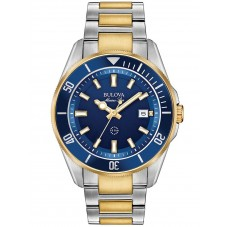 Bulova Mens Marine Star Stainless Steel Blue Date Dial Gold Plated Two Tone Bracelet Watch 98B334