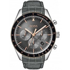 BOSS Mens Trophy Chronograph Anthracite Grey Leather Strap Watch 1513628