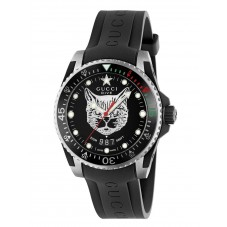 Gucci Dive Feline Black Rubber Strap Watch YA136320