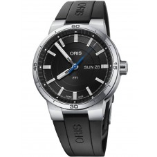 Oris Mens TT1 Day Date Black Rubber Strap Watch 735 7752 4154 4 24 06 FC