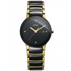 Rado Ladies Centrix Diamonds Quartz Black and Gold Ceramic Bracelet Watch R30930712 S