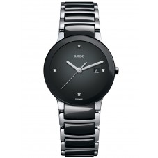 Rado Ladies Centrix Diamonds Jubile Quartz Black and Silver Ceramic Bracelet Watch R30935712 S