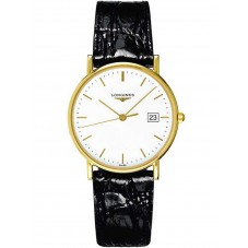 Longines Presence 18ct Gold Black Leather Strap Watch L47436120