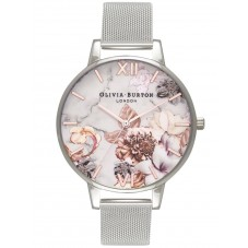 Olivia Burton Marble Florals Rose Gold And Silver Mesh Bracelet Watch OB16CS10