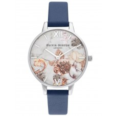 Olivia Burton Marble Florals Silver and Navy Leather Strap Watch OB16CS33
