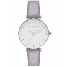 Olivia Burton Queen Bee London Grey Leather Strap Watch OB16AM144