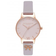 Olivia Burton Vintage Bow Rose Gold Blush Dial Lilac Leather Strap Watch OB16VB05