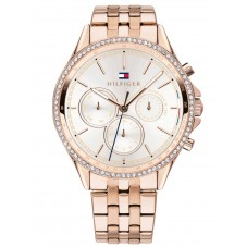 Tommy Hilfiger Ari Rose Gold Plated Cubic Zirconia Set White Chronograph Dial Bracelet Watch 1781978