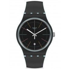Swatch Mens Black Layered Strap Watch SUOS402