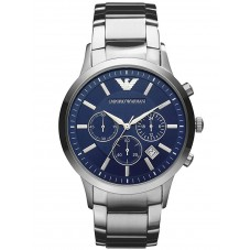 Emporio Armani Mens Silver Chronograph Watch AR2448