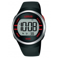 Lorus Mens Digital Black Rubber Strap Watch R2335NX9