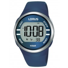 Lorus Mens Digital Blue Rubber Strap Watch R2339NX9