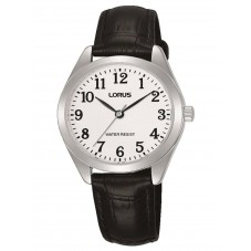 Lorus Ladies Black Leather Strap Watch RG239TX9