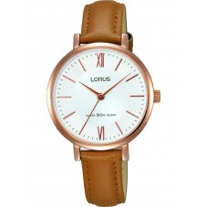 Lorus Ladies Brown Leather Strap Dress Watch RG262LX9