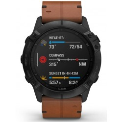 Garmin Fenix 6X Sapphire Edition Carbon Black DLC Chesnut Leather Strap Watch 010-02157-14