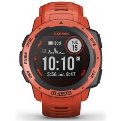 Garmin Instinct Solar Flame Red Rubber Strap Watch 010-02293-20