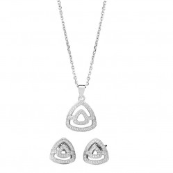 Silver Sparkle Silver Pave Open Triangle Pendant and Earring Set  E611952+P612148