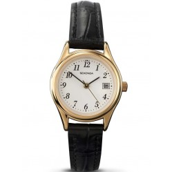 Sekonda Ladies Gold Plated Black Strap Watch 4082