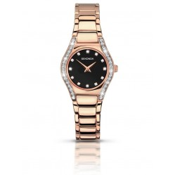 Sekonda Ladies Aurora Black Stone Set Dial Rose Gold Plated Bracelet Watch 2200