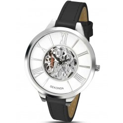 Sekonda Ladies Black Skeleton Dial Strap Watch 2311