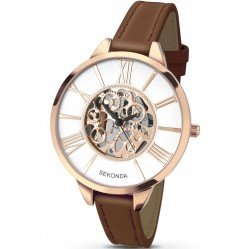 Sekonda Ladies Rose Gold Plated Skeleton Dial Brown Strap Watch 2315