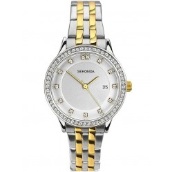 Sekonda Ladies Harmony Two Tone Gold Plated Silver Stone Set Bracelet Watch 2388