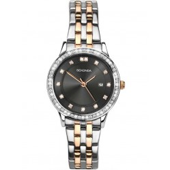 Sekonda Ladies Harmony Two Tone Rose Gold Plated Silver Stone Set Bracelet Watch 2389