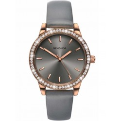 Sekonda Ladies Editions Rose Gold-Plated Grey Strap Watch 2454