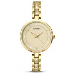 Sekonda Ladies Gold Stone Set Stainless Steel Bracelet Watch 2384