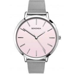 Sekonda Ladies Pink Stainless Steel Bracelet Watch 2473