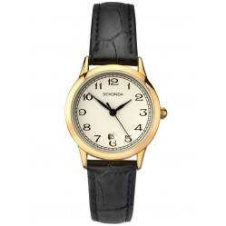 Sekonda Ladies Black Leather Strap Watch 2484