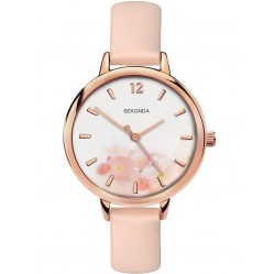 Sekonda Ladies Rose Gold Plated Pink Floral Watch 2624