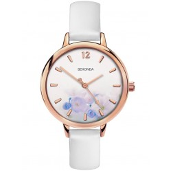 Sekonda Ladies Rose Gold Plated White Floral Watch 2623