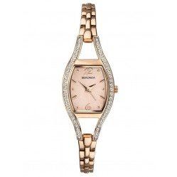 Sekonda Ladies Rose Gold Plated Cubic Zirconia Set Bracelet Watch 2792