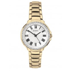 Sekonda Ladies Classic Gold Plated Stone Set Bracelet Watch 2778