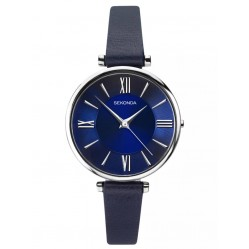 Sekonda Ladies Editions Stainless Steel Dark Blue Dial Leather Strap Watch 2844