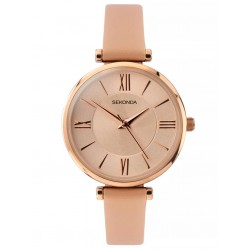 Sekonda Ladies Rose Gold Plated Champagne Dial Pink Leather Strap Watch 2845
