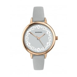 Sekonda Ladies Editions Grey Floral Stone Set Dial Leather Strap Watch 2819