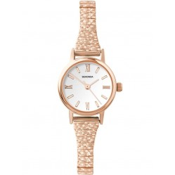 Sekonda Ladies Classic White Dial Rose Gold Plated Expandable Bracelet Watch 2870