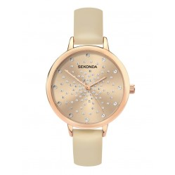 Sekonda Ladies Editions Rose Sunray Stone Set Dial Nude Leather Strap Watch 2942
