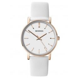 Sekonda Ladies Rose Gold Plated White Dial Leather Strap Watch 2887