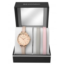 Sekonda Ladies Rose Gold Plated Matte Rose Dial Leather Strap Watch Three Piece Set 2629G
