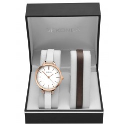 Sekonda Ladies Rose Gold Plated White Dial Leather Strap Watch Two Piece Set 2557G