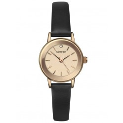 Sekonda Ladies Rose Gold Plated Stone Set Dial Brown Leather Strap Watch 2786